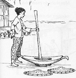 Rice is hulled by pounding in something similar to a large wooden mortar and pestle. Spread on nearly-flat woven baskets, it can be tossed in the air for the breeze to blow away the chaff.