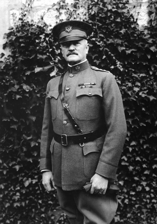 John J. Pershing, commander of the A.E.F, wearing a Sam Browne belt