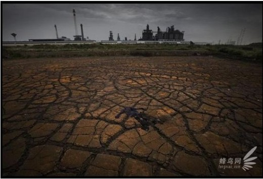 Soil by Yangtze River, was polluted by Anhui Province Maanshan Chemical Industrial District (). June 26, 2009