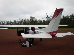 Airplane on arrival. Cape Don, Cobourg Peninsula, within Gurig National Park, in Australia's Northern Territory.
