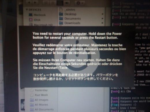 Mac's version of Window's Blue Screen of Death (BSOD)