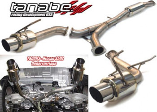 The Tanaba Concept G exhaust for the 350z features excellent ground clearance.