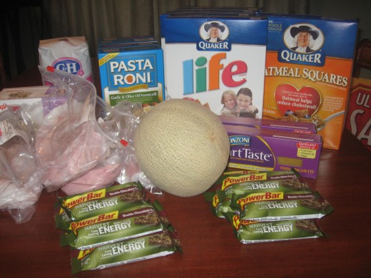Here's what I bought.., 4 boxes of Life Cereal,  2 boxes Smart Taste pasta, 4 boxes Pasta Roni, 10 Power Bars, 4 lbs deli ham, 1 4lb bag sugar, 1 Cantaloupe, 1 box Quaker Oatmeal Squares, 1/2 gallon ice cream