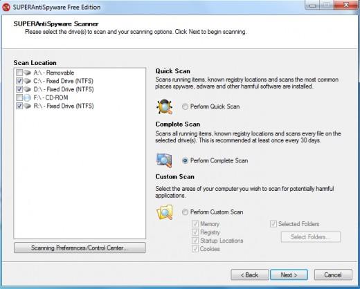 SUPERAntiSpyware Online Scanner Options
