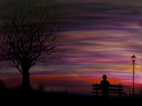 A man sits on a bench watching the Earth transform into darkness.
