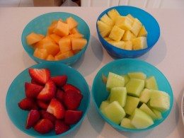 Cutting the fruit in cubes ahead of time makes assembling easier.