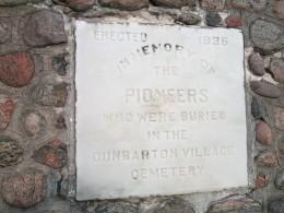 Inscription on Pickering's Pioneer Memorial Cairn