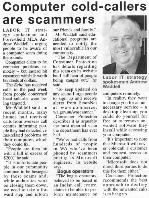 Local newspaper article - April 9, 2011