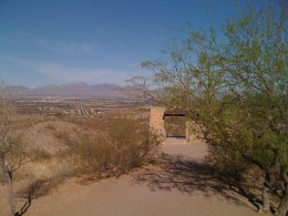 Scenic view of Las Cruces from rest area.  Organ mountains are in the background.