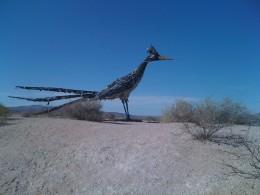 Full shot of roadrunner statue.