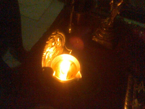 Ghee lamp wards off any negative energy