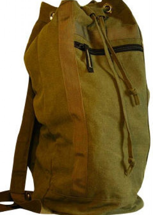 This would be the idea duffle-bag because you can carry it on your back or hand carry your survival supplies.