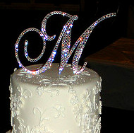 Monogram cake topper with crystals