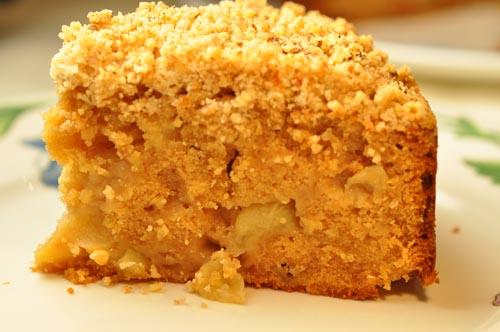 Close up of slice of Apple Streusel Cake. Image:  Siu Ling Hui
