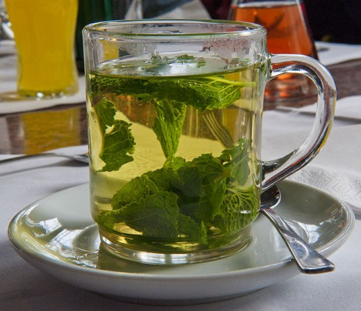 Peppermint tea helps digestion and is invigorating, too.