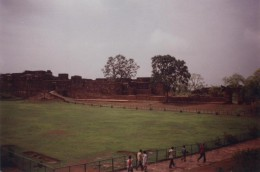 Open yard, fort wall, and pathway inside the fort