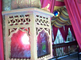 Lantern aglow with rose colored glass in Aladdin's Oasis. CC lic: http://bit.ly/wmgij