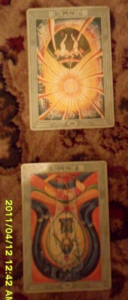 The final two cards.  The lower one indicates how my hopes and fears eill bear on the question.  The card above that is the final one representing the likely outcome.  NB  Card are reversed, which either reverses or reduces their signification.