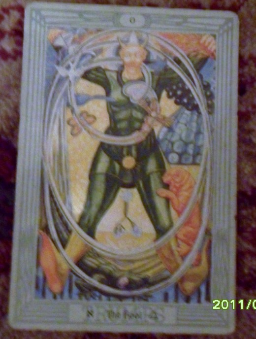 Closer view of the first card which represents my place in the situation. this is the first card turned over, it is not reversed, so I will see all the other cards in relation to its upright position.