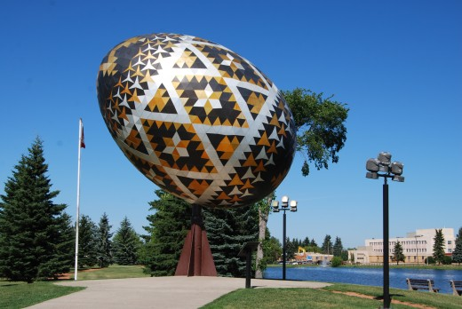 The spectacular giant Vegreville non-chocolate Egg commemorates the Mountie's 100th anniversary. It is located at Vegreville, Canada and, perhaps, is a harbinger of a less chocolaty future.