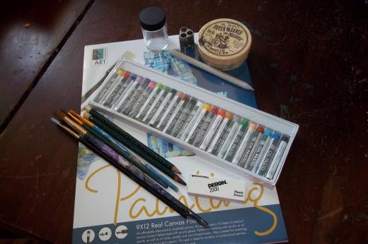 supply samples:pencils,art stump,oil sticks,canvas paper,pencils, sharpener