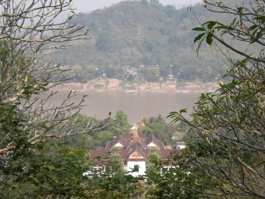 View of The Royal Palace and Mekong River from the top of Phu Si, Luang Prabang, Laos.