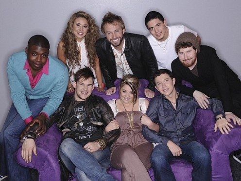 Seated l-r: James Durbin, Lauren Alaina, Scotty McCreery. Back l-r: Jacob Lusk, Haley Reinhart, Paul McDonald, Stefano Langone, Casey Abrams