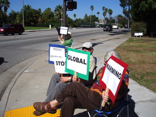Political activists highlighting climate change.