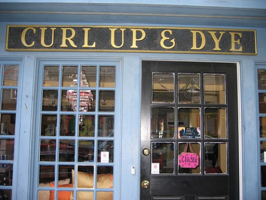 Curl Up & Dye. A very over-used hair salon name.