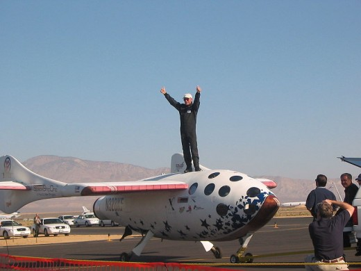 SpaceShipOne test pilot Mike Melvill after the launch in pursuit of the Ansari X Prize on September 29, 2004. Photo taken by RenegadeAven during Civil Air Patrol duties.