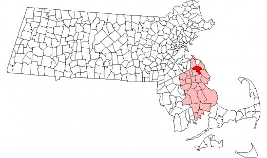 Map of Massachusetts towns with Norwell highlighted