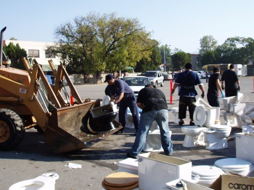 Subcontracting to recycle old toilets after a low-flow toilet exchange event.