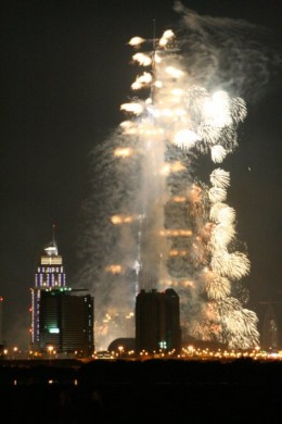 There was a massive fireworks display for the opening of the Burj Khalifa
