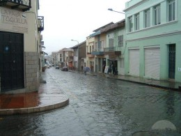 A rainy street in Cuenca is not good for flip-flops!