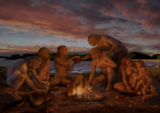 Early Humans Sharing Food