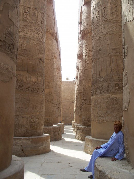 Resting among remnants of a glorious past, Luxor, Egypt