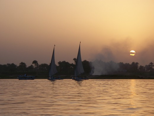A lovely sunset along the Nile River, Luxor Egypt