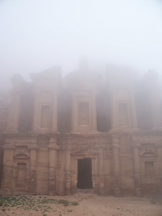 """The Monastery,"" shrouded in an eerie morning mist, Petra, Jordan"