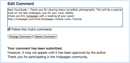 You have 5 minutes to edit your comment on a hubpage.