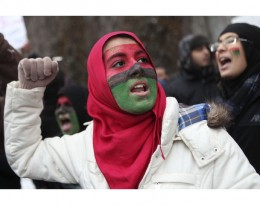 New York protestor against hearings on terrorism.