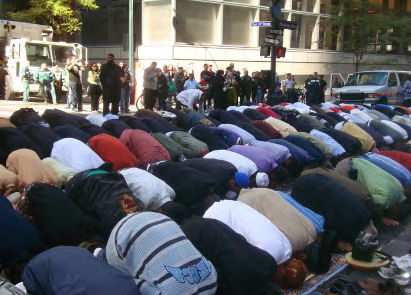 Prayer in the middle of Madison Avenue, New York.