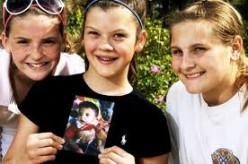 The Four Victims: Chelsea Edwards (center), her two lemonade stand helpers, and Chelsea holding a photograph of her blind and deaf 2-year-old cousin.