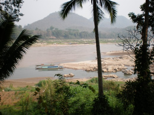 Tip of the peninsula where the two rivers come together,  Luang Prabang, Laos.