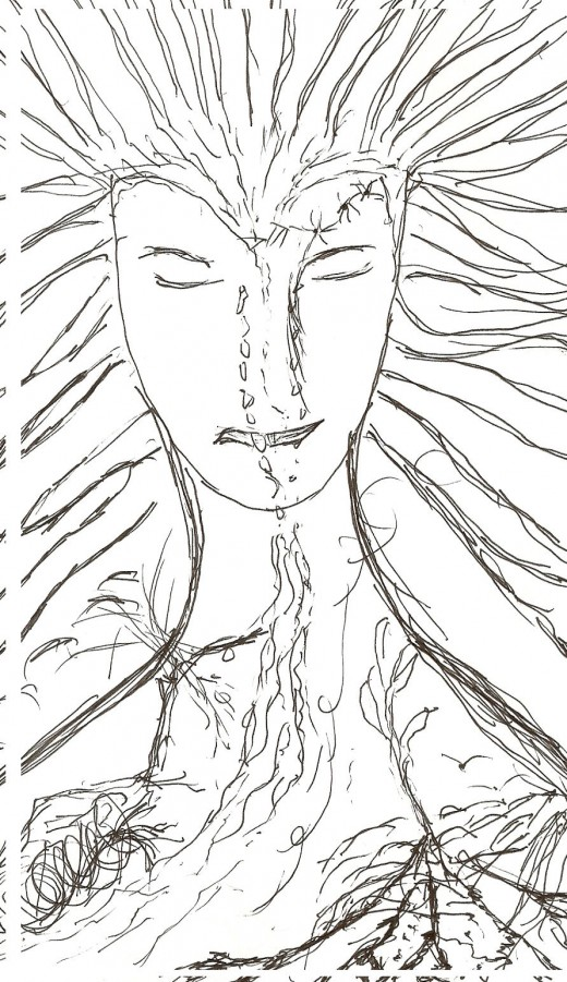 Earth tears replenishing the fields. The original title of this sketch was Earth. I made this sketch on 8/8/2008 and I also wrote the reflection back then. I have done a few modifications to the writing on April 15, 2011.
