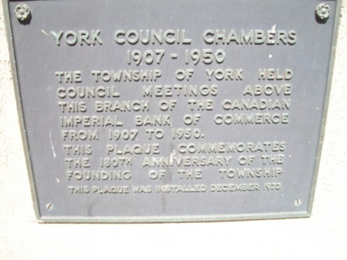 Historical plaque at the Canadian Bank of Commerce building, which formerly incorporated the Township of York's Council Chambers
