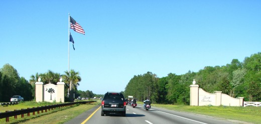 The South Carolina State Line as seen on Interstate 95