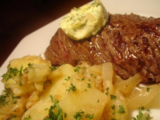 Pommes Maitre d Hotel with steak