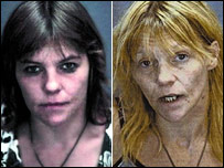 These aren't just before and after pictures.... they are mugshots.  Drugs lead to jail.
