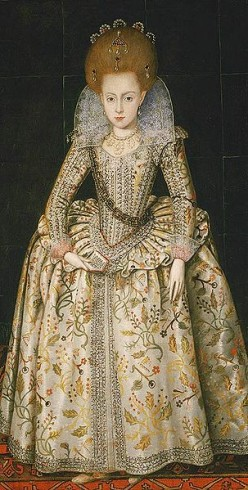 Elizabeth Stuart, daughter of James i of England (later Queen of Bohemia) 1606 - by Robert Peake the Elder. Out of copyright. See: http://en.wikipedia.org/wiki/File:Eliz_bohemia_3.jpg
