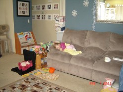 Wide Shot--what is the picture really supposed to be?  An illustration of your living room?  Baby incidenally in the shot?